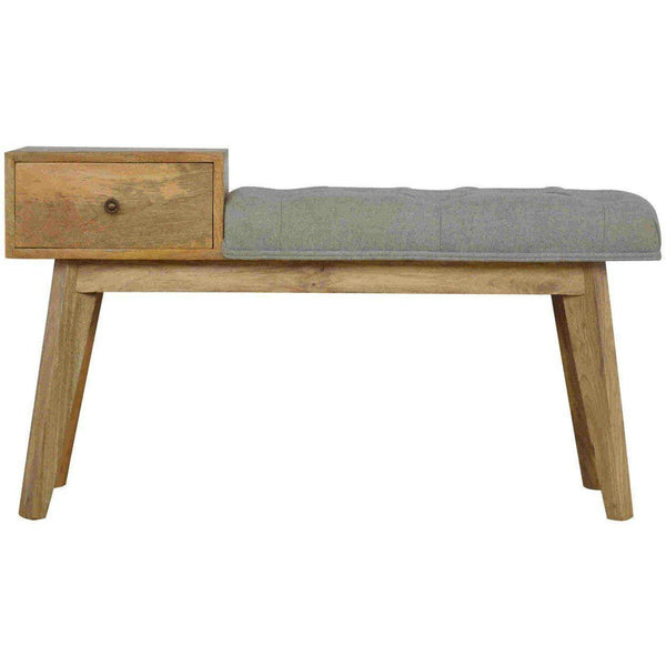 1 Drawer Tweed Bench Grey-Modern Furniture Deals