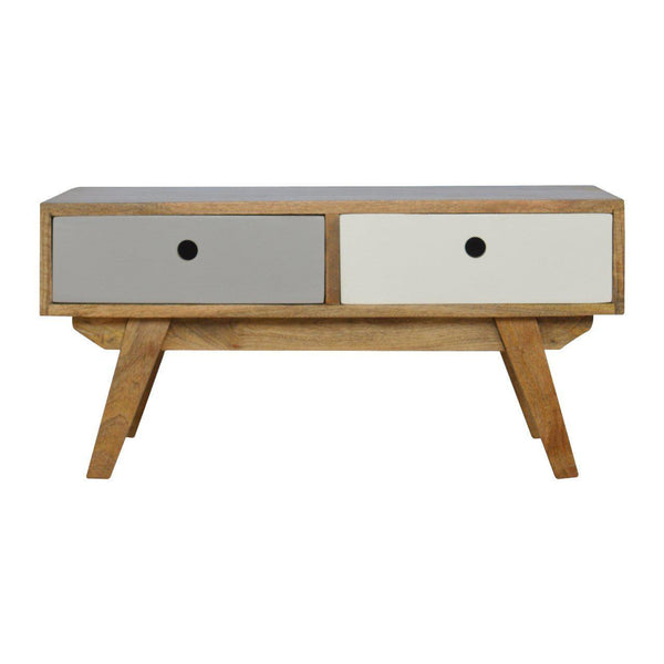 2 Drawer 2 Colour Scandinavian Unit Grey-TV STAND-Modern Furniture Deals