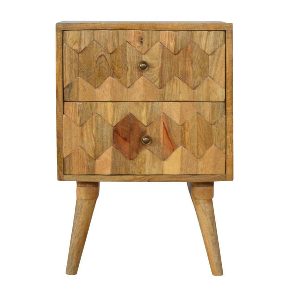 2 Drawer Carved Bedside-Modern Furniture Deals