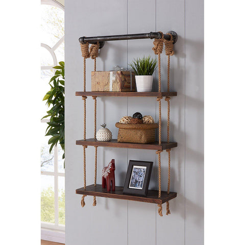 3 Tier Rustic Rope Pipe Shelf-[sale]-[design]-[modern]-Modern Furniture Deals
