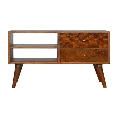 Carved Chestnut TV Unit