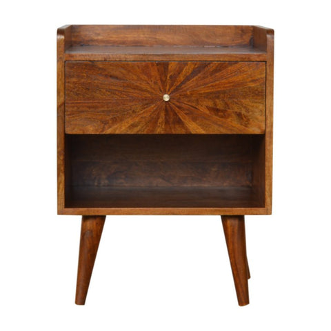 Chestnut Bedside with Open Slot