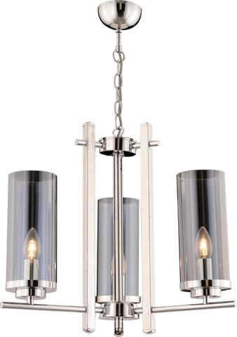 Adriana 3-Light Round Crome Chandalier-PENDANT LIGHT-Modern Furniture Deals