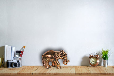 Small Copper Brushed Elephant Figurine