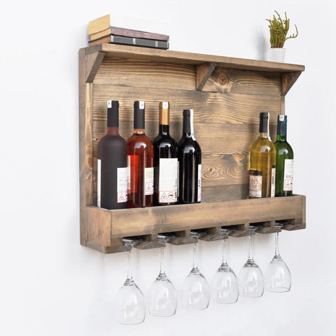 AMORE Solid Wood 7 Bottle Wall Mounted Walnut Wine Rack-FURNITURE>WINE RACKS-[sale]-[design]-[modern]-Modern Furniture Deals