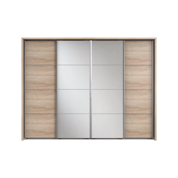 ANGELICA 4 Sliding Mirrored Door Wardrobe Light Oak-Wardrobe-Modern Furniture Deals