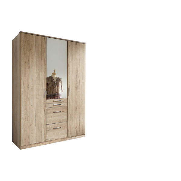 ANITA 3 Doors 4 Drawers Mirrored Wardrobe Oak-Wardrobe-Modern Furniture Deals