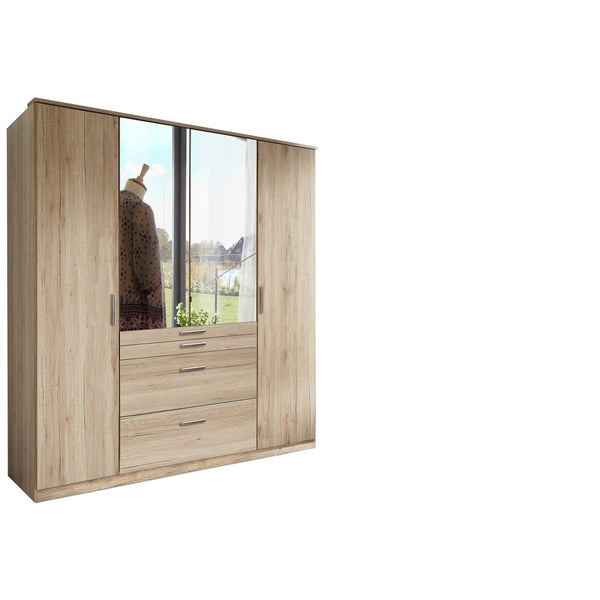 ANITA 4 Doors 4 Drawers Mirrored Wardrobe Oak-Wardrobe-Modern Furniture Deals