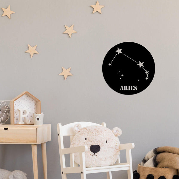 ARIES HOROSCOPE - BLACK Wall Art-Metal Wall Art-[sale]-[design]-[modern]-Modern Furniture Deals