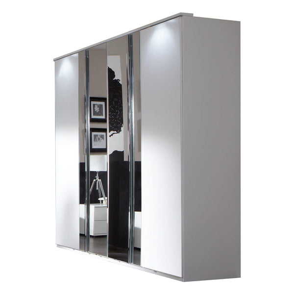 ATHOS 4 Doors 2 Mirrored White Wardrobe-Modern Furniture Deals