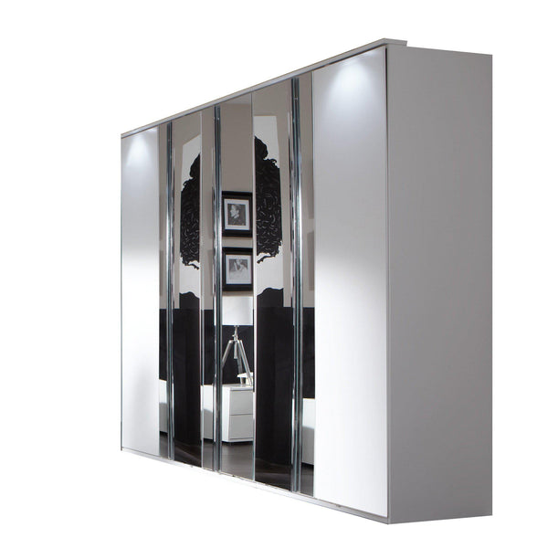 ATHOS 5 Doors 3 Mirrored White Wardrobe-Modern Furniture Deals
