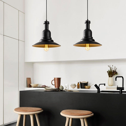BEAM INDUSTRIAL 2 PENDULUM CEILING LIGHT BLACK GOLD-Modern Furniture Deals