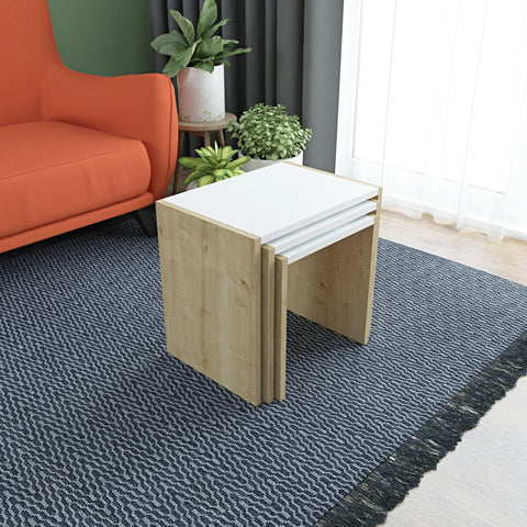 BION Nesting Tables - Oak - White - Oak-FURNITURE>LIVING ROOM TABLES>COFFEE TABLES-[sale]-[design]-[modern]-Modern Furniture Deals