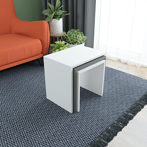 BION Nesting Tables - White - Anthracite - White-FURNITURE>LIVING ROOM TABLES>COFFEE TABLES-[sale]-[design]-[modern]-Modern Furniture Deals