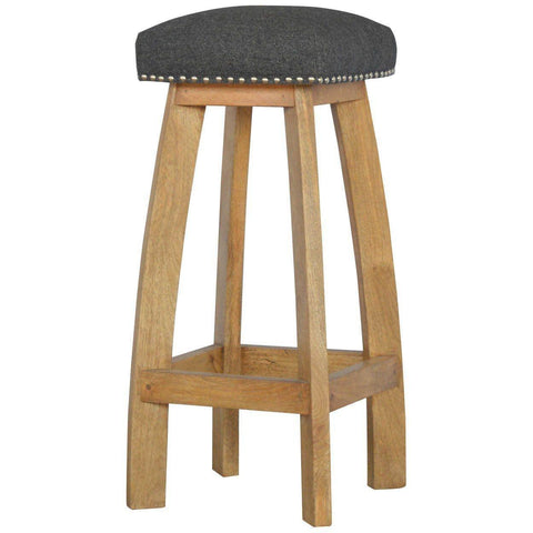 Black Tweed Bar Stool, Solid Wood-Modern Furniture Deals