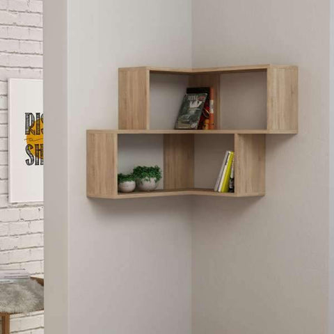 Block Corner Shelving Unit-Oak-Modern Furniture Deals