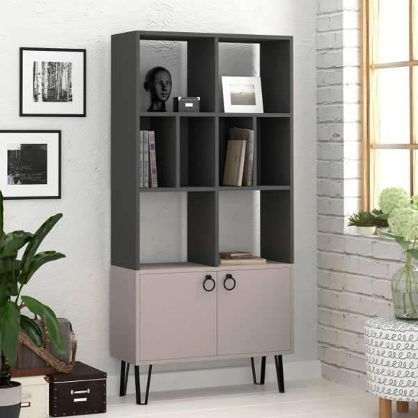 Bueno Bookcase-Grey-Mocha-Modern Furniture Deals