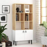 Bueno Bookcase-Oak-White-Modern Furniture Deals