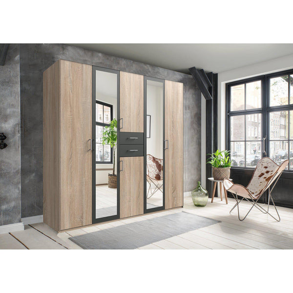 CAMILLA Oak And Graphite 6 Doors 2 Drawers Mirrored wardrobe-Wardrobe-Modern Furniture Deals
