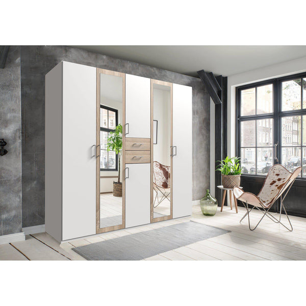 CAMILLA White And Oak 6 Doors 2 Drawers Mirrored wardrobe-Wardrobe-Modern Furniture Deals
