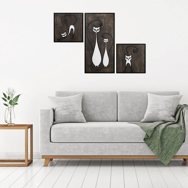 Cat Family Set Wall Art-Metal Wall Art-[sale]-[design]-[modern]-Modern Furniture Deals