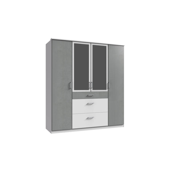 Compact 4 Doors 3 Drawers Mirrored Wardrobe Grey White Gloss-wardrobe-Modern Furniture Deals