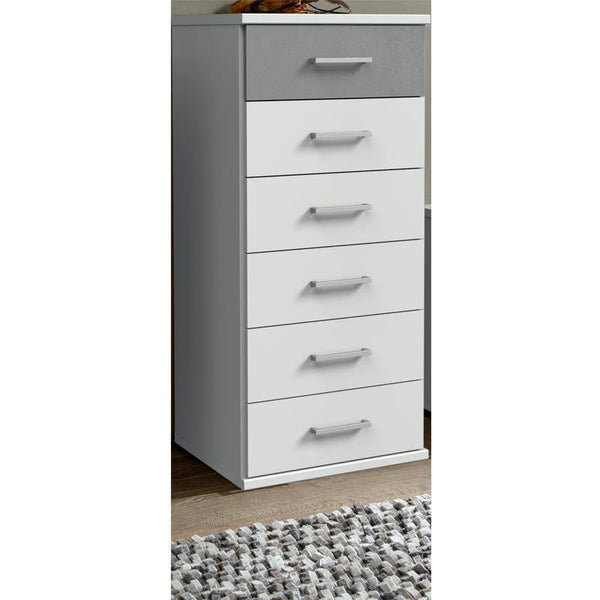 Compact 6 Chest of Drawers White, Grey-Chest of Drawer-Modern Furniture Deals