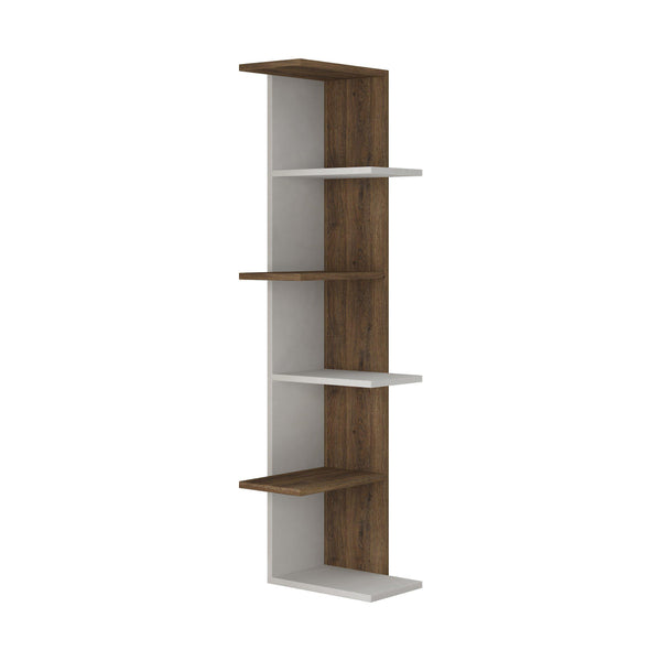 Compact Corner Bookcase-White-D.Oak-Modern Furniture Deals