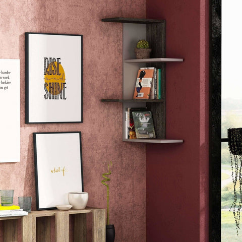 Compact Corner Shelf-Mocha-Dark Brown-Modern Furniture Deals