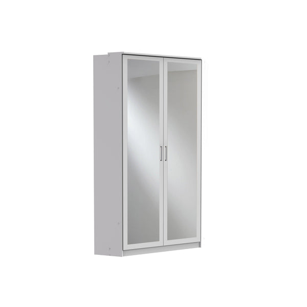 Compact Mirrored Corner Wardrobe Grey White-wardrobe-Modern Furniture Deals