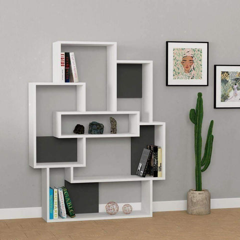 Concept Bookcase-Oak-Grey-Modern Furniture Deals