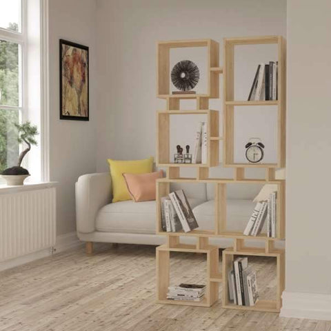 Cube Divider Bookcase-Oak-Modern Furniture Deals
