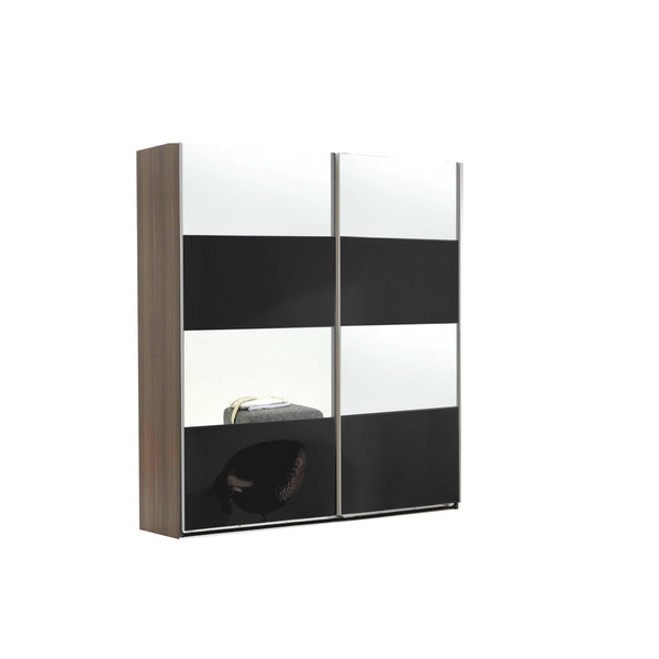 DEXTER Mirrored Sliding Door Wardrobe Walnut, Black-Modern Furniture Deals