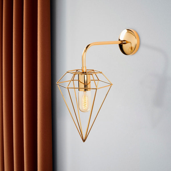 Diamond Single Wall Light Gold-Wall Light-[sale]-[design]-[modern]-Modern Furniture Deals
