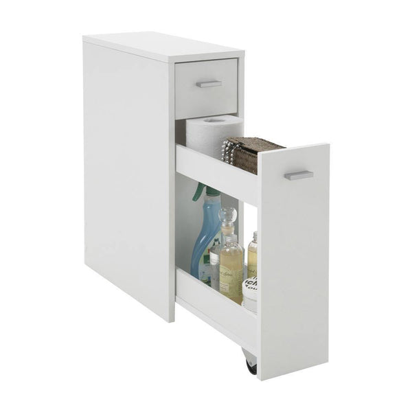 DORE Pull Out Bathroom Storage Cabinet, White-Modern Furniture Deals