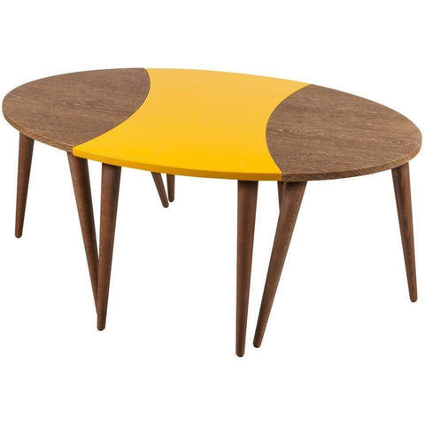 Ellipse 3 Piece Nesting Tables-Oak-Yellow-Modern Furniture Deals