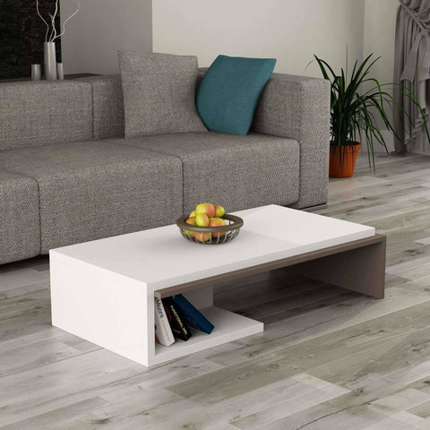 Featured Coffee Table-White-Mocha-Modern Furniture Deals