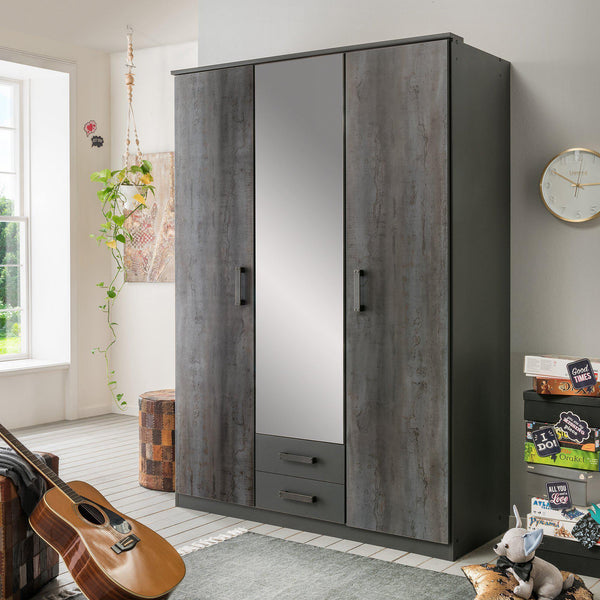 FORT 3 Doors 2 Drawers Steel Finish Mirrored Wardrobe-WARDROBE-Modern Furniture Deals