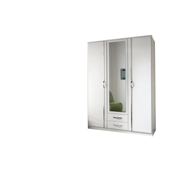 FREYA 3 Door 2 Drawer Mirrored White Wardrobe-Modern Furniture Deals