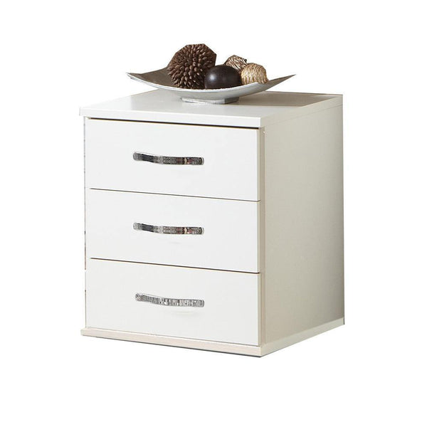 FREYA White 3 Drawer Chest-Modern Furniture Deals