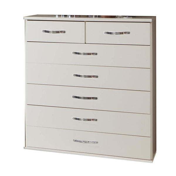 FREYA White 5+2 Chest Of Drawers-Modern Furniture Deals