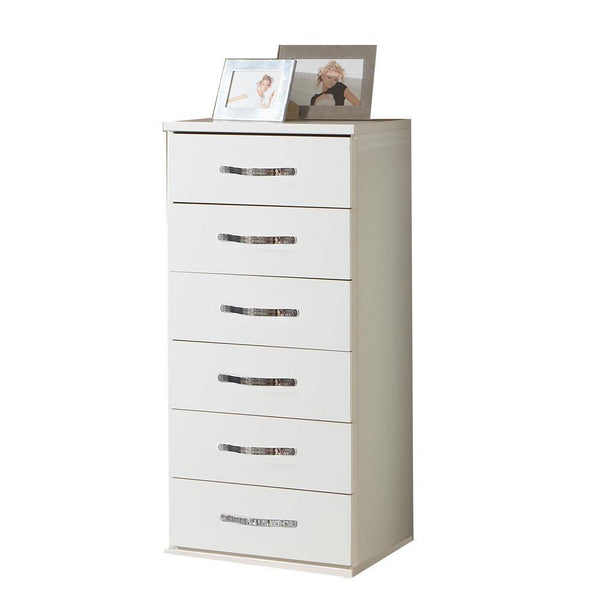 FREYA White Narrow 6 Drawer Chest-Modern Furniture Deals