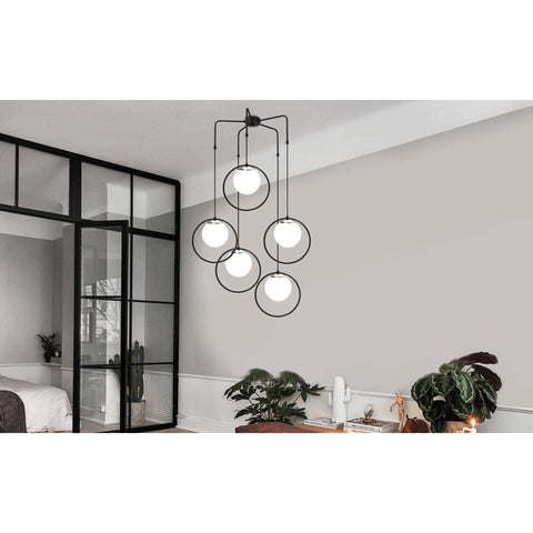 Full Moon 5 Pendulum Sphere Ceiling Light-Modern Furniture Deals