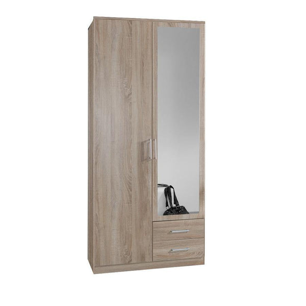 Grain oak 2 Door 2 Drawer Wardrobe-Modern Furniture Deals
