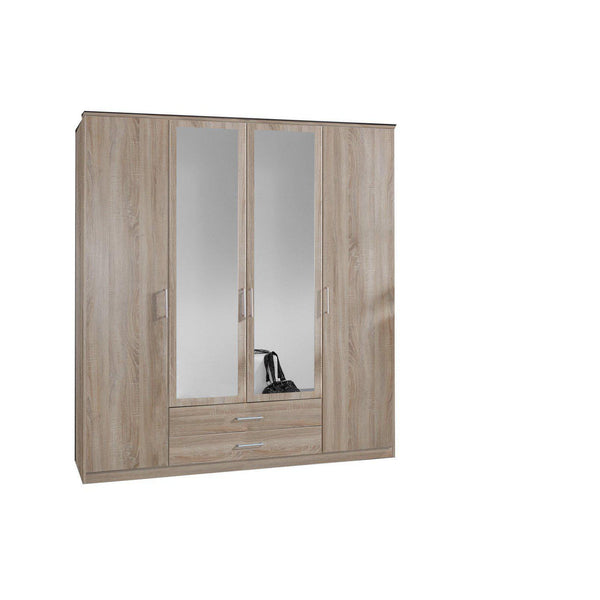 Grain Oak 4 Door 2 Drawer Mirrored Wardrobe-Modern Furniture Deals