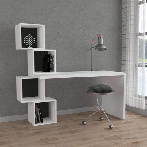 Gravity Desk-White-Burgundy-Modern Furniture Deals