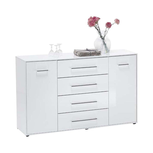 HAMBURG High Gloss White Sideboard 4 Drawers 2 Doors-Modern Furniture Deals