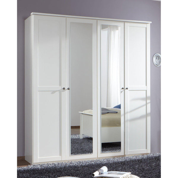 Harmony 4 Doors 2 Mirrors White Wardrobe-Wardrobe-Modern Furniture Deals