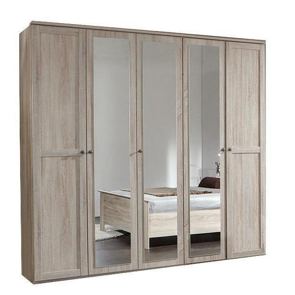 HARMONY 5 doors 3 mirrors oak wardrobe-Modern Furniture Deals