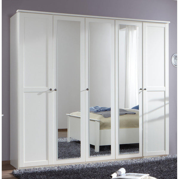 Harmony 5 Doors 3 Mirrors White Wardrobe-Wardrobe-Modern Furniture Deals